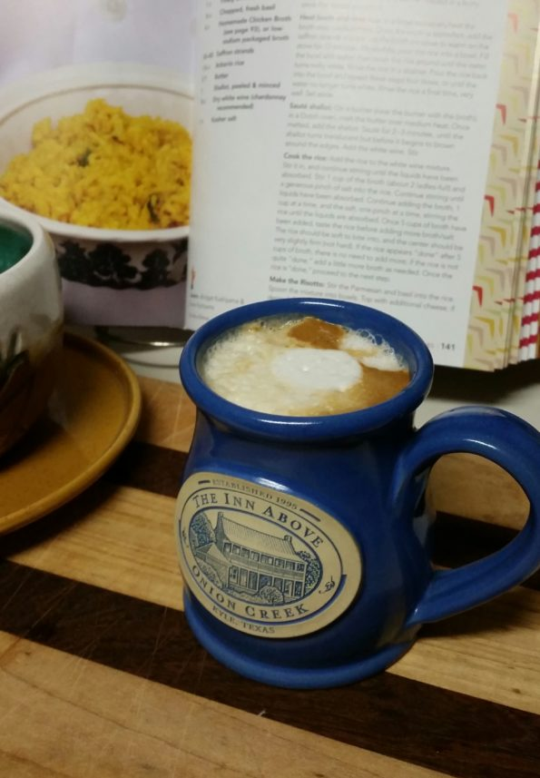 A Literary Feast -- risotto and latte