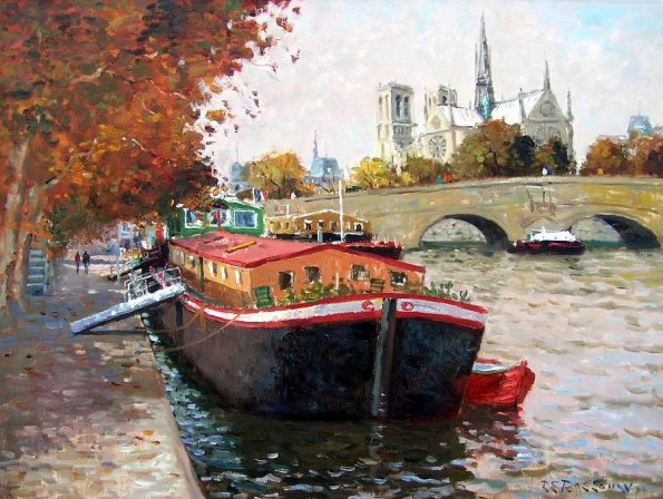 A Literary Feast -- barges on the seine