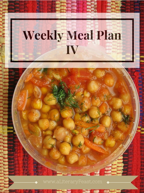 "A Literary Feast -- Subscribe here to receive a healthy, easy meal plan in your inbox every week. Included on this week's menu: ""chick"" peas and ""chick"" en... chick it out!"
